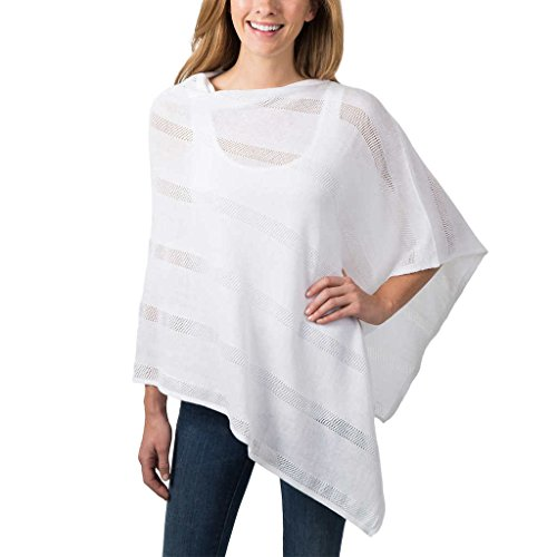 Celeste Ladies Lightweight Poncho, White, One (Fashion Poncho)