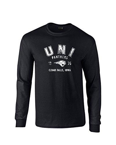 NCAA Northern Iowa Panthers 100% Pre-Shrunk Long Sleeve Tee, Black, MEDIUM