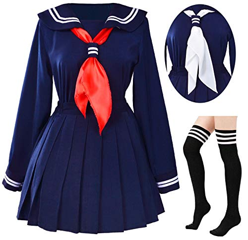 Classic Japanese School Girls Sailor Dress Shirts Uniform Anime Cosplay Costumes with Socks Set(Navy)(XL = Asia XXL)(SSF07NV)