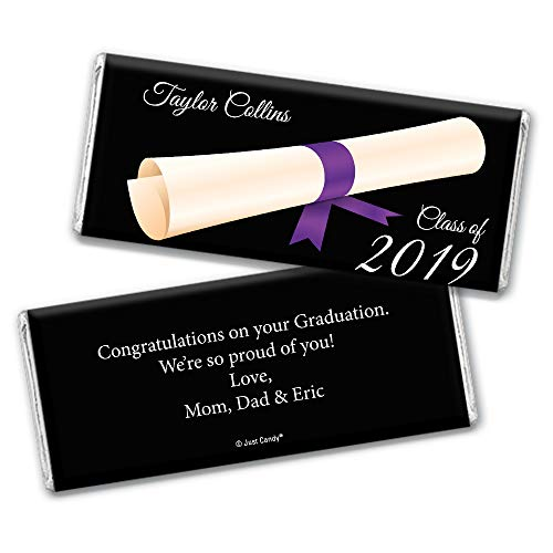 Personalized Graduation Chocolate Bar Wrappers - Diploma (25 Wrappers) - Purple]()