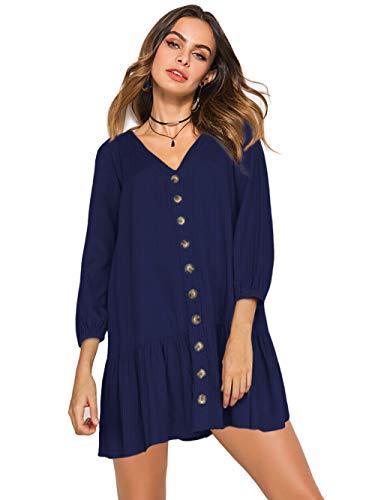 Florboom Womens Ruffled Tunic Dress V Neck Long Sleeve Shift Dresses Navy Blue XL