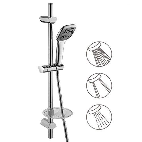 GAPPO Bathroom Shower Kit - Include 3 Setting Model Handheld Showerhead, Stainless Steel Slide Bar Riser Rail and Soap Dish, Polished Chrome