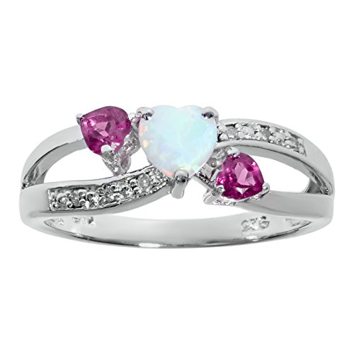 - .5 Ct White Opal Pink Sapphire Diamond Silver Ring (.03cttw, I-J, I2-I3) Size 5