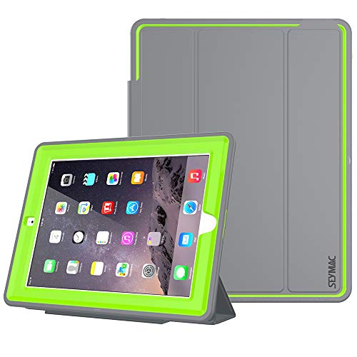 SEYMAC Stock iPad 2/3/ 4 Case, (NOT for 5/6th or Mini), Heavy Duty 3 Layer Drop Proof, AUTO Sleep/Wake Protective Leather Stand Cover for iPad 4th Gen with Retina Display, iPad 3 & iPad 2 (Green/Gray)