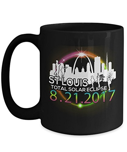 Total solar eclipse Mugs, St Louis Missouri Path of totality 11 oz - 15 oz Ceramic Coffee mugs, Tea cups - Funny Gift for Family, Friend on August 08 21 (St Louis 2017 Halloween)