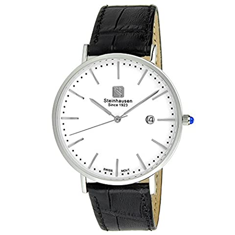 Steinhausen Men's S0518 Classic Burgdorf Swiss Quartz Stainless Steel Watch With Black Leather Band (Swiss Mens Classic)