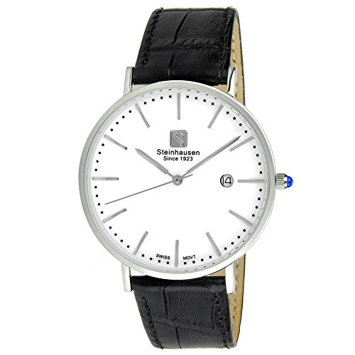 Steinhausen Men's S0518 Classic Burgdorf Swiss Quartz Stainless Steel Watch With Black Leather Band