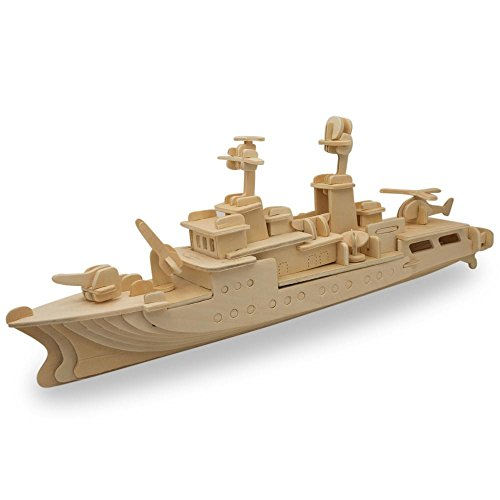 - BestPysanky Navy Battleship Destroyer Boat Model Kit Wooden 3D Puzzle 13 Inches Long