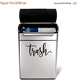 a928aa3850 Pene Trash Vinyl Decal in a Handwritten Script Style Letter Garbage can  Sticker Trash Label