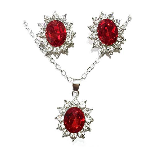 RXBC2011 Red Crystal Necklace and Earrings set for Women, red jewelry set for Brides Weddings, gift for Mothers Day…
