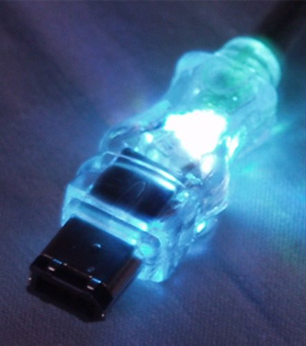QVS 15-Feet 6-Pin FireWire//i.Link Translucent Lighted Cable with Blue LEDs CC1394-15BLL