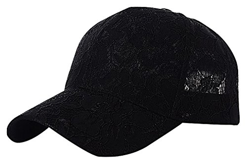 Maze Women's Polyester Solid Color Floral Lace Overlay Snapback Baseball Cap, Black
