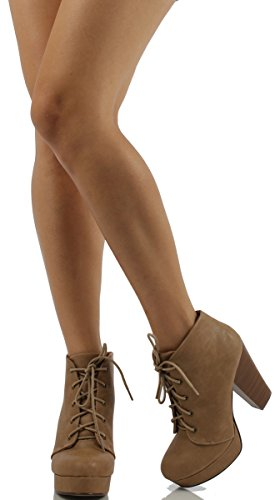 Heel Lace Womens Camel Chunky Soda Up Agenda Booties 5 naP7qH7