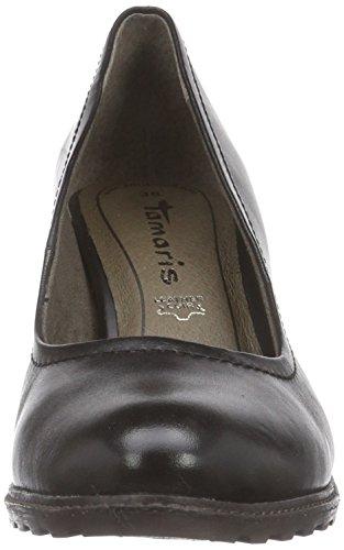 Tamaris 22436 - zapatos de tacón cerrados de cuero mujer negro - negro