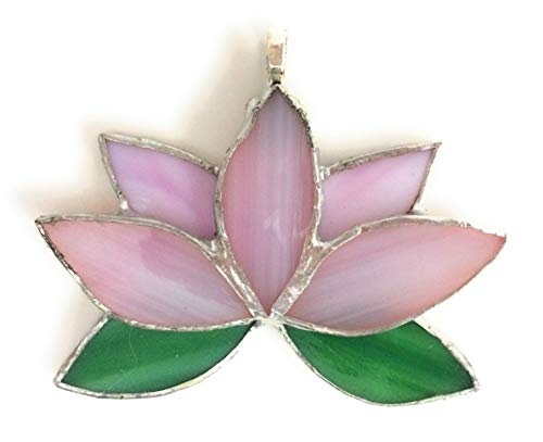 Lotus Flower Necklace (Pink) - Stained Glass Water Lily Pendant - Gift