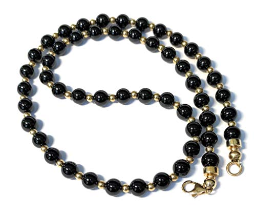 Mens 6mm or 8mm Black Onyx and 14/20 Gold Bead Necklace Custom Length