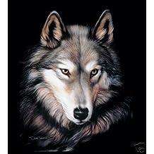 New Sig. Collection Indigo Wolf Face Queen Size Mink Blanket