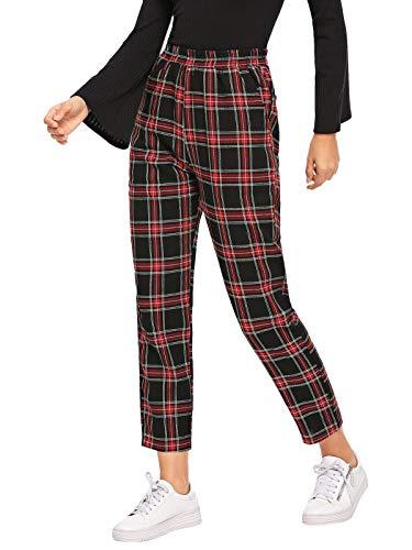 Womens Plaid Pants - DIDK Women's Tartan Plaid Pants Black and Red S