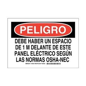 """Brady 124943 Bilingual Sign, Legend """"Debe Haber Un Espacio"""