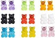 8 Pairs Bear Earring Set Cute Colorful Resin Candy Cartoon Drop Earring Party Favors Birthday Gifts for Girls