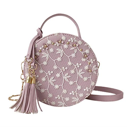 Holzkary Fashion Women Embroidery Tassel Crossbody Bags Round Tote Handbags Shoulder Bag(Purple) ()