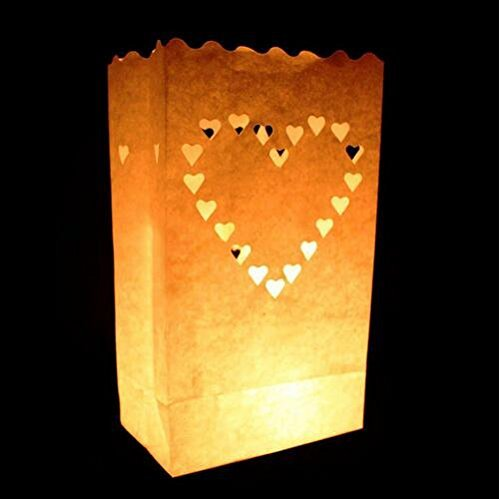 White Luminary Bags - 20 Count - Big Heart Design - Wedding, Reception, Party and Event Decor - Flame Resistant Paper - Luminaria by Since (Big Heart) -