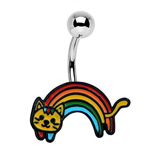 Jewseen 14g Cat Belly Button Rings Rainbow Enamel Navel Rings 316L Surgical Steel Belly Rings for Women Body Piercing (Cat Belly Piercing)
