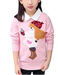 MFrannie Girl Pretty Cartoon Funny Turn Down Collar Knitting Sweater
