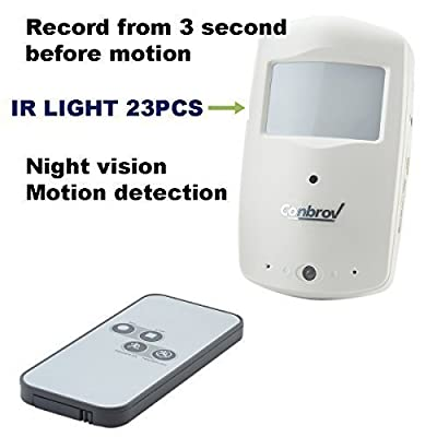 Home Security Surveillance Infrared Activated PIR Camera with 24ft Night Vision and Motion Detection Video Recorder Nanny Cam Dvr