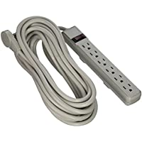 CableWholesale 25-Feet Flat Rotating Plug Power Strip with 6 Outlet, Gray Horizontal Outlets, Plastic and Power Cord (845-51W1-19225)