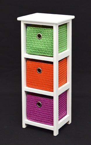 Kommode Nachttisch Schrank 62 cm Höhe Bad Regal Weiß mit 3 Körben in Orange Lila Grün für Kinderzimmer, Büro, Bad, Flur und Babyzimmer