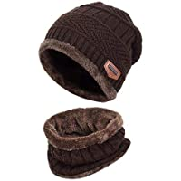 Handcuffs 2-Pieces Winter Beanie Hat Scarf Set Warm Knit Hat Thick Fleece Lined Winter Hat & Scarf for Men Women