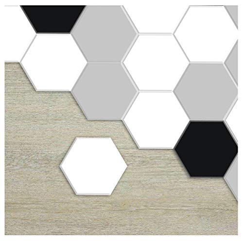 APSOONSELL Hexagon Geometric Patterned Home Wall Decor, Hexagon Floor Tile Stickers, Peel and Stick Tile Backsplash Stickers for Kitchen and Bathroom Decor, 9 inch, Pack of 10 ()