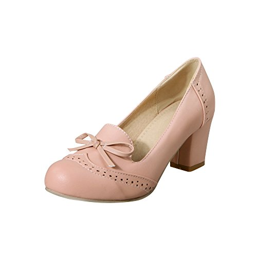 Latasa Womens Cute Solid Color Bow Mid Chunky Heel Pumps Shoes Pink