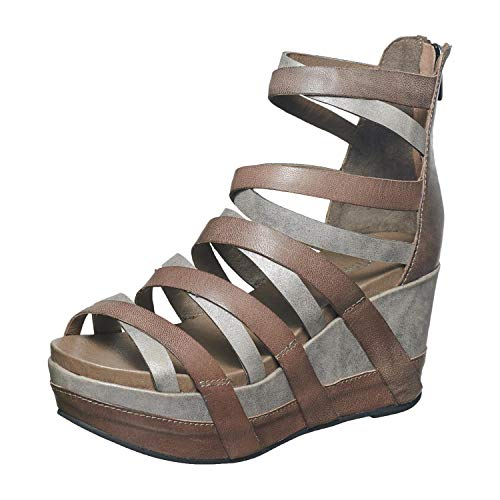 - Antelope Women's 857 Grey Leather Gladiator Wedge Sandals 39