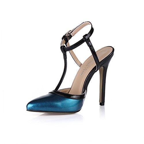 in Punta donna in gomma 4U® Tacchi alti strap pelle da tacchi punta Summer Slingback a 12CM blu Best Sandali T con verniciata t0TxTPq