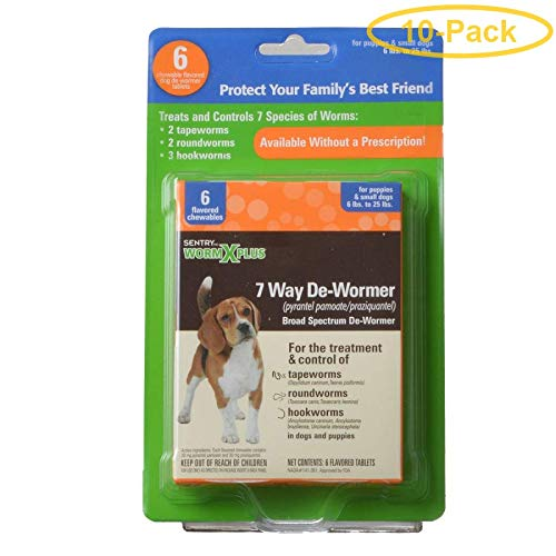 Sentry Worm X Plus - Small Dogs 6 Tablets - Pack of 10 by Sentry Industries Inc.