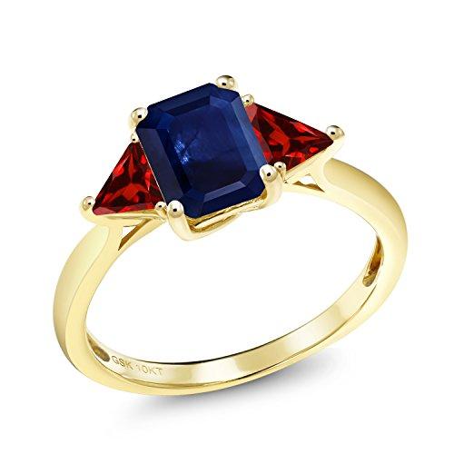 Octagon Blue Sapphire - 1.89 Ct Octagon Blue Sapphire Red Garnet 10K Yellow Gold Ring
