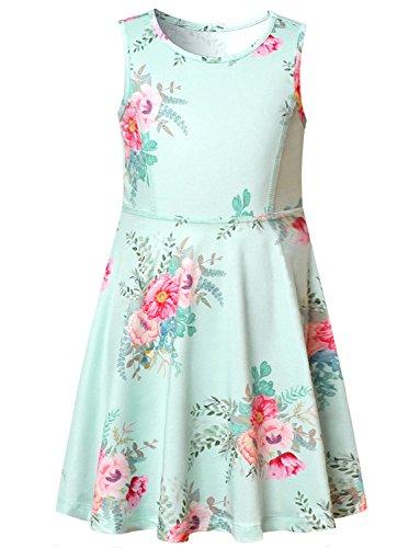 BlueDressesforGirls Summer Sun Dress Floral Flower Casual Cute Sleeveless Kid, Blue Flower, 4-5Y/Height-43in