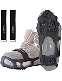 Traction Ice Cleat Spikes Crampons Snow Grips Anti Slip Safe Protect Slip-on Stretch Footwear for Hiking Walking Fishing Climbing