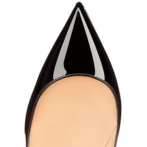 Soireelady Chaussures Fermées Haut 12CM Coupe Escarpins Vernies Talons Gradient Femme Talon Femme FrFqB