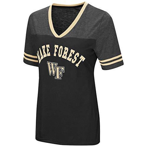 (Colosseum Women's NCAA Varsity Jersey V-Neck T-Shirt-Wake Forest Demon Deacons-Black-Medium)