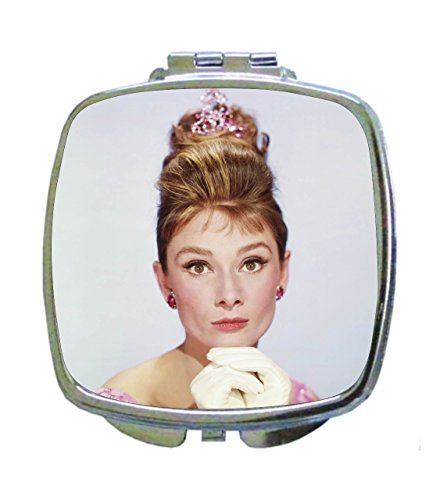 pburn British Actress Celebrity in a Pink Crown Square Shaped Compact Travel Pocket Size Beauty Mirror (Crown Compact Mirror)