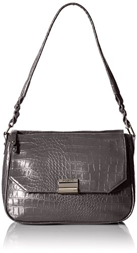 Croco Handbag Hobo (Rosetti Chic Boutique Small Hobo Croco Shoulder Bag, Smoke, One Size)