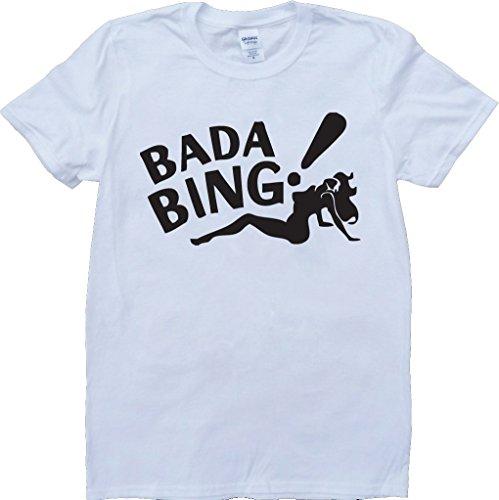The Sopranos Bada Bing Short Sleeve Custom Made T-Shirt - White - Large