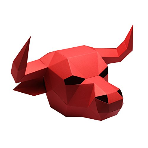 3D Paper Mask Animal Head Molds DIY for Halloween Party Costume Cosplay Red Bull - (Diy Halloween Costumes Funny)