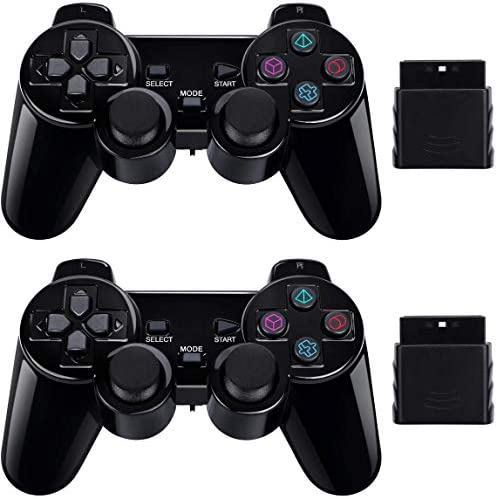 PS2 Wireless Controller 2.4G, Double Shock Dual Vibration Twin Shock Gamepad for Sony Playstation 2, Black 2 Pack top rated Playstation