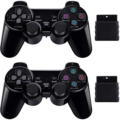 PS2 Game Wireless Controller,GamePal for Sony Playstation 2 (Black 2 Pack) (Multi)