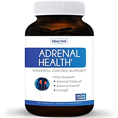 Best Adrenal Support & Cortisol Manager (NON-GMO) Powerful Adrenal Health with L-Tyrosine & Ashwagandha - Maintain Balanced Cortisol Levels & Stress Relief - Fatigue Supplement - 60 Capsules