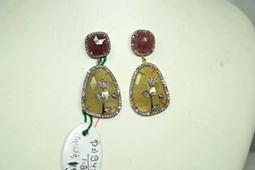 Victorian style 2.30ctw Pave diamond ruby sapphire dangler designer earrings